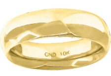 10K Yellow Gold Mens Ladies Hollow Comfort Fit Wedding Ring Band 5mm Size 6-13