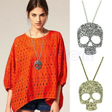 Fashion Vintage Gothic Floral Big Skull Sweater Pendant Long Chain Necklace