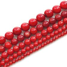 "Red Sea Coral Round Beads 15"" ,2 3 5 6 7 10 11 12 16 18mm , pick your size"