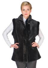 Sheared Mink Vest Reversible to Fabric Black