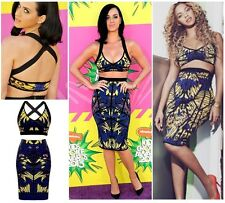 Womens Ladies Celeb Two 2 Piece Top Knee Length Skirt Set Bodycon Beyonce Dress