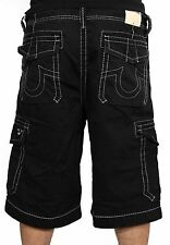 True Religion Mens Trooper Cargo Shorts In Black MNQB078NJ0 New W Tags Authentic