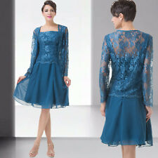 Short LACE Mother of the Bride dress Evening Cocktail Formal Dresses free Jacket