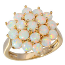 White Opal Women Jewelry Gems Silver & Yellow Gold Filled Ring Size 6-11 OJ6226