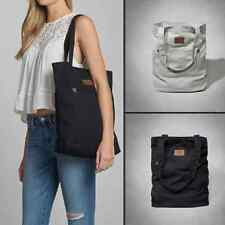 NWT Abercrombie & Fitch Womens 2014 Classic Leather Trim Tote Book Bag Navy/Gray