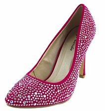 New women's shoes rhinestones high heel suede like pumps hot pink party prom