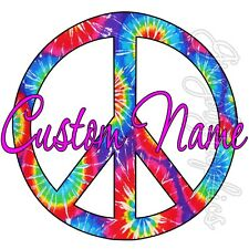 Custom Name Wall Decals Graphic Personalized Girls Room Fun Peace Sign Tie Dye
