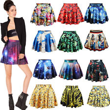 Fashion Sexy Women's High Waist Pleated Floral Skater Flared Dress Short Skirt