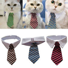 Dog Cat Striped Bow Tie Collar Pet Adjustable Neck Tie White Collar for Tuxedo