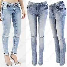 NEW LADIES BLUE ACID WASH RIPPED KNEE SKINNY FIT STRETCH JEANS WOMENS RIP CUT