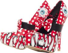 IRON FIST LOOKY LOU RED EYEBALL POLKA PUNK ROCK PLATFORM HEELS SHOES SIZE 7-10