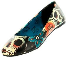 IRON FIST THE WALKING FLOWER GARDEN SKULLS PUNK EMO FLATS SHOES WOMENS SIZE 7-10