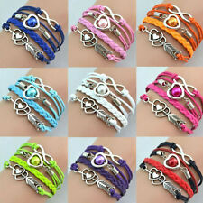 Hot-selling Infinity Love Heart Friendship Antique Silver Leather Charm Bracelet
