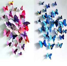 3D Butterfly Sticker Art Decal Wall Stickers Home Decor Room Decorations 12pcs