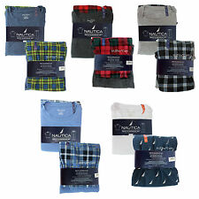 NWT Nautica Men's Pajama Sleepwear Set Short Sleeve Crew Tee & Knit Fleece Pant