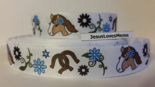 "Grosgrain Ribbon, Horse Pony Head with Blue Daisy Flowers Horse Shoes, 7/8"" Wide"