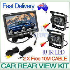 "Car Rear View Kit 2X 18 IR LED CCD Reversing Camera+7"" LCD Monitor+2X 10M Cable"