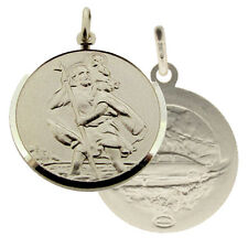 925 Sterling Silver 22mm St Christopher Double Sided Pendant With Optional Chain