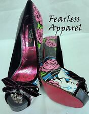IRON FIST SUGAR WITCH SKULL ROSES BOW PLATFORM HEELS WOMENS SHOES SIZE 6-9
