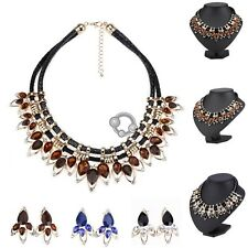 E Fashion Crystal Rhinestone Chain Pendant Necklace Chain With Dangler Earring