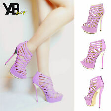 Fahrenheit Amy-01 Strappy Peep-toe Platform Pumps in Lavender @ YAB SHOP