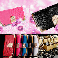 Diamond Magnetic Bling Shiny Crystal Leather Flip Wallet Case Cover for LG AU