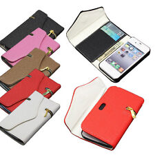 New Zipper PU Leather Flip Wallet Purse Case Cover For Apple iPhone 5 5S 5G 4 4S