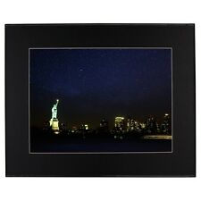 Statue of Liberty at Night Photo Black Mat Framed Print James Crouch