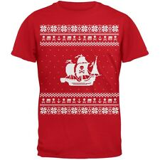 Pirate Ship Ugly Christmas Sweater Red Youth T-Shirt Top