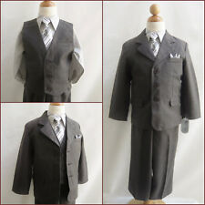 Charcoal/Dark grey toddler teen graduation bridal party boy formal suit tie set