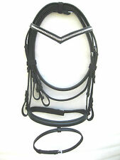 New snaffle leather bridle with 2 row white diamonte on V shaped Browband Black