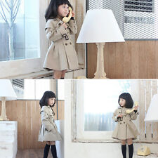 Fashion Chic Kids Baby Girls Autumn Casual Outerwear Double-breasted Trench Coat
