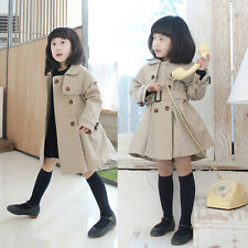 Lovely Chic Kids Baby Girls Autumn Casual Outerwear Double-breasted Trench Coat