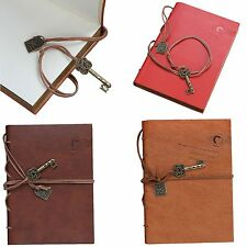 Vintage Classic Key String PU Leather Bound Blank Notebook Journal Notepad New
