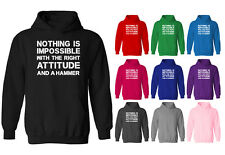 Womens Nothing Is Impossible With A Hammer Slogan Pullover Hoodie NEW UK 12-20