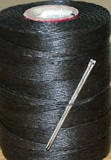 STRONG WAXED LINEN HAND SEWING THREAD FOR LEATHER/CANVAS & 2 NEEDLES - BROWN