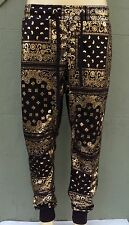 Victorious Mens Fleece Bandana Joggers Drawstring Jogger Pants Blk/Gold