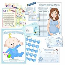 Fun Baby Shower Party Games - All Blue / Unisex for Baby Boy Bumps Neutral