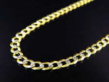 "Real 10K Yellow Gold Solid Diamond Cut Cuban Link Chain Necklace 18-30"" (3.5MM)"