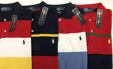 NWT Polo Ralph Lauren Knit Cotton Mesh SS Striped Rugby Shirt $89  Pony Red Blue