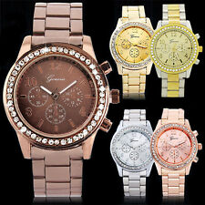Men Women Deluxe Geneva Dazzing Crystal Stainless Steel Decent Wrist Watch