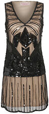 UK6 TO UK30 Black Nude Vintage 1920s Flapper Gatsby Downton Abbey Beaded Dress