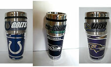 NFL Stainless Steel Coffee Mug / Travel Tumbler  Insulated Metallic Logo 16 OZ