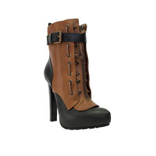 DSQUARED BLACK/BROWN TWO TONE INSIDE PLATFORM ANKLE BOOT