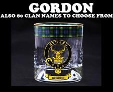 GORDON CLAN CRESTED WHISKY GLASS TARTAN WHISKY GLASSES