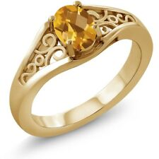 0.70 Ct Oval Checkerboard Yellow Citrine 18K Yellow Gold Ring