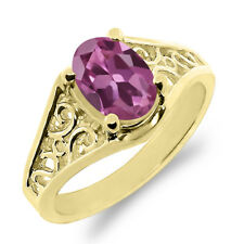0.85 Ct Oval Pink Tourmaline 925 Yellow Gold Plated Silver Ring