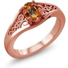 0.95 Ct Oval Ecstasy Mystic Topaz 925 Rose Gold Plated Silver Ring