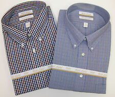 NWT ROUNDTREE & YORKE GOLD LABEL NON IRON PLAID DRESS SHIRT BLUE TAN BURGUNDY 75