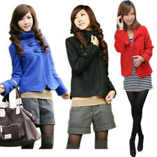 Casual Girl Women Basic Wool Blend Short Trench Toggle Pea Coat Jacket Outwear